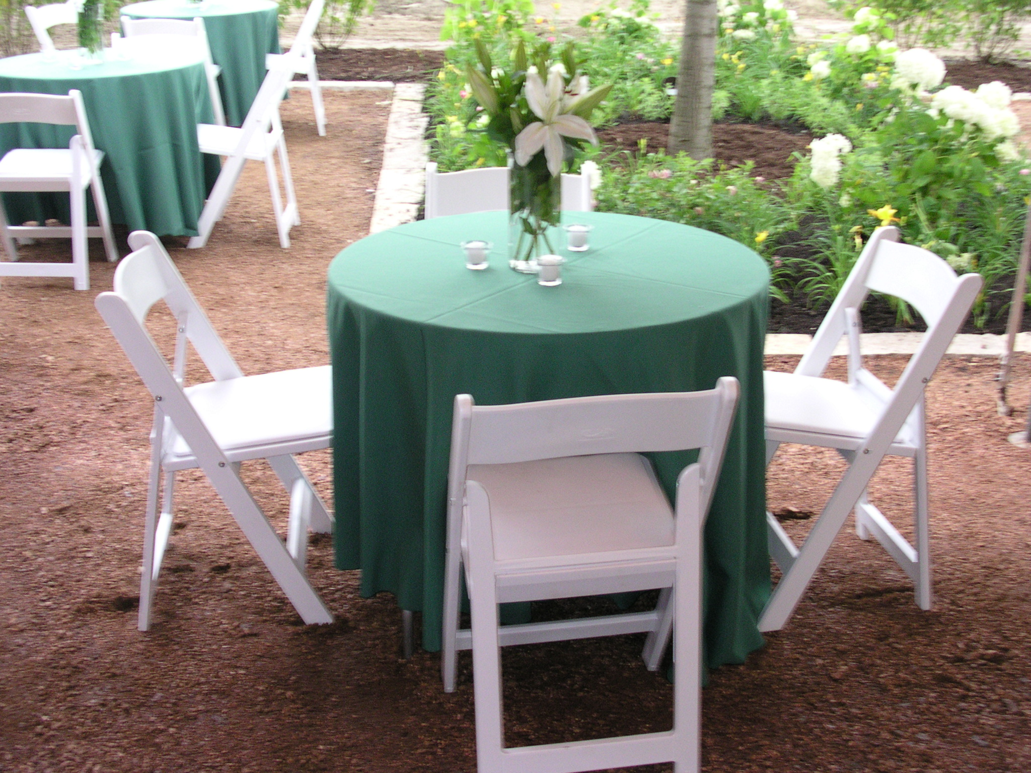 23 green linen white wood chairs