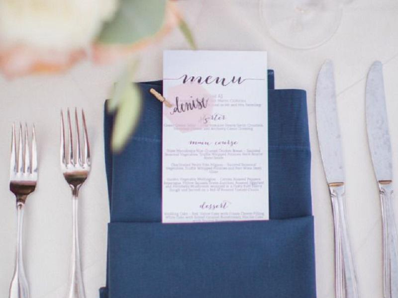 3 navy blue napkins