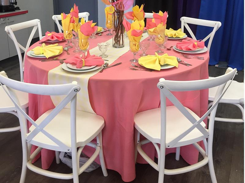35 pink tablecloth cross back chair