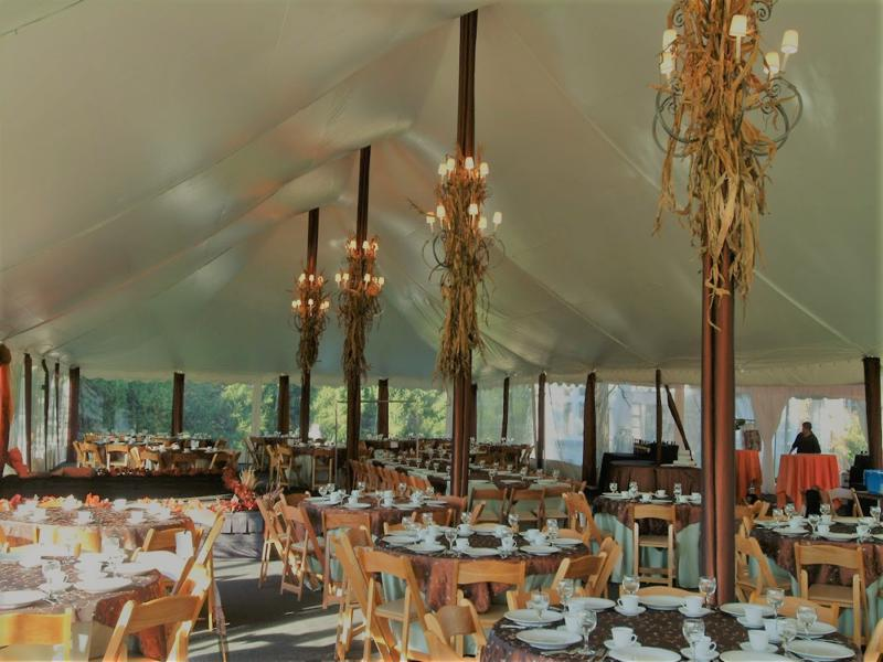 7 tent with chandelier