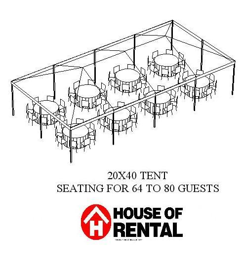 tent party layout  64 guests for dinner rentals chicago il  where to rent tent party layout  64