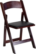 Where to rent CHAIR, WOOD MAHOGANY INDOOR w black pad in Chicago IL