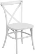 Where to rent CHAIR, CROSS BACK WHITE RESIN in Chicago IL