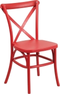 Where to rent CHAIR, CROSS BACK RED RESIN in Chicago IL