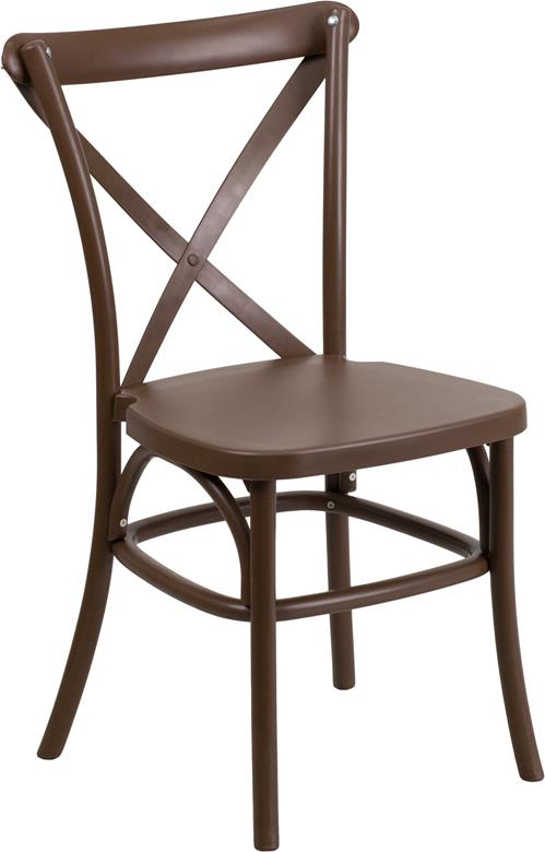 Where to find CHAIR, CROSS BACK BROWN RESIN in Chicago