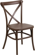 Where to rent CHAIR, CROSS BACK BROWN RESIN in Chicago IL