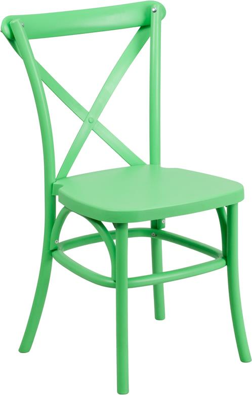 Where to find CHAIR, CROSS BACK GREEN RESIN in Chicago
