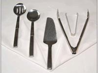 Rent your serving spoons, serving utensils, serving pieces, tongs for rent, tongs, crab crackers, serving fork, wedding cake knife, wedding cake knife rental, wedding silverware for rent, buffet serving pieces, rent serving piece,